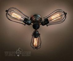 Mid Century Chandelier Vintage Industrial Cage Ceiling Lamp steampunk Kitchen Semi-Flush Mount Ceiling Light TUREL West men lights ceiling light named TUREL ide