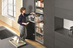 Looking for the ultimate storage solution? The Blum Space Tower larder unit nails it! Kitchen Larder Cupboard, Larder Unit, Kitchen Cabinet Design, Kitchen Storage, Storage Spaces, Food Storage, Small Space Interior Design, Interior Design Living Room, Kitchen Furniture