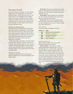 DnD 5e Homebrew — Oath of Sunlight Paladin by The Middlefinger of...