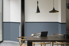 Dulux Colour Futures 17 - The Working Home - dining room - denim drift, black, - Mad About The House Interior Simple, Interior Design, Color Interior, Room Colors, Wall Colors, Half Painted Walls, Color Of The Year 2017, Small Apartments, Sweet Home