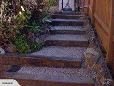 Garden Steps With Railroad Ties - Modern Outdoor Steps, Patio Steps, Garden Steps, Garden Paths, Gravel Garden, Fence Garden, Railroad Ties Landscaping, Outdoor Landscaping, Outdoor Gardens