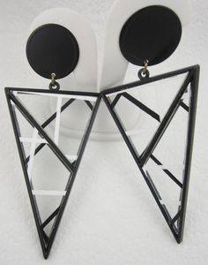 Huge Black White Earrings Signed Remy Dis by LadyandLibrarian, $26.00