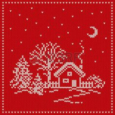 Stock vector of 'Winter Holiday Landscape. Seamless Kn… Stock vector of 'Winter Holiday Landscape. Tiny Cross Stitch, Cross Stitch House, Xmas Cross Stitch, Cross Stitch Borders, Cross Stitch Designs, Cross Stitching, Cross Stitch Embroidery, Cross Stitch Patterns, Christmas Stocking Pattern