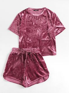 SHEIN Women Two Piece Outfits Purple Short Sleeve Pocket Front Crushed Velvet Top and Bow Shorts Set Women Sets Clothes Pajama Outfits, Lazy Outfits, Cute Outfits, Fashion Outfits, Womens Fashion, Fashion Clothes, Trendy Outfits, Fashion Top, Fashion Vintage
