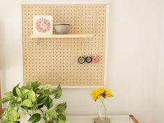 Make a Pretty, Wooden Peg Board - Made + ReMade Wooden Pegboard, Wooden Pegs, Wooden Diy, Diy Wood, Acrylic Paint Storage, Diy Network, New Crafts, Getting Organized, Diy Furniture