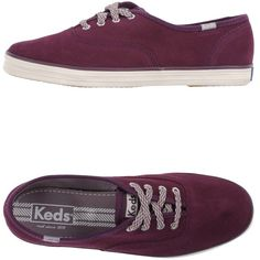Keds Sneakers ($71) ❤ liked on Polyvore featuring shoes, sneakers, sapatos, purple, leather trainers, real leather shoes, flat sneakers, rubber sole shoes and round toe shoes