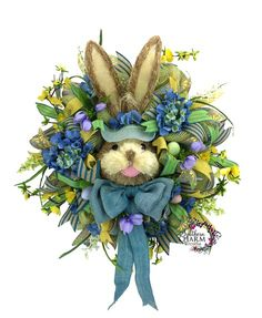 Mesh Burlap Easter Bunny Wreath in Blue, Lime Green & Yellow with Bunny Head by www.southerncharmwreaths.com