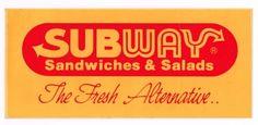 Vintage Subway Sandwiches & Salads The Fresh Alternative Bumper Sticker Decal ~ SOLD!!
