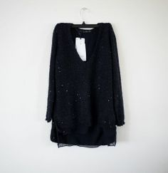 NWT ZARA SEQUINNED SWEATER NAVY BLUE SIZE M