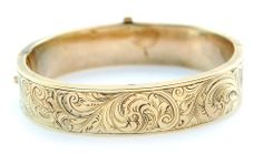 Small Antique Engraved Hinged Bangle Bracelet