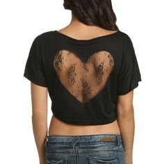 Lace Heart Crop Top - Teen Clothing by Wet Seal ($19) found on Polyvore
