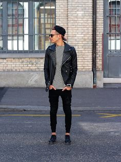 Street Style // Menswear Inspiration Men Street, Urban Fashion, Boy Fashion, Mens Fashion, Street Fashion, Leather Jacket, Studded Jacket, Studded Leather, Black Leather