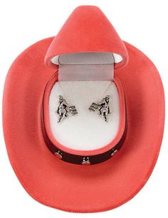 Barrel Racer Earrings with Cowboy Hat Box Barrel Racer post earrings. Packaged in colorful, velour cowboy hat gift box Equestrian Jewelry, Horse Jewelry, Cowgirl Jewelry, Barrel Racing Saddles, Horse Saddles, Horse Halters, Chapeau Cowboy, Cowboy Hats, Coin Purse Keychain