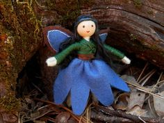 Handmade Miniature Waldorf Woodland Flower Fairy Doll -Dollhouse Bendy Doll (black hair) by WildflowerInnocence, $18.99 USD