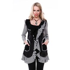 Women's Black and White Striped Open Cardigan with Ruffles - Overstock™ Shopping - The Best Prices on 3/4 Sleeve Shirts