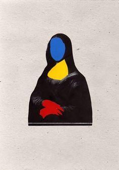 Interpretación de la Gioconda con bigotes (Marcel Duchamp) sobre papel (2) [Raúl 'Erre' Gálvez] (Gioconda / Mona Lisa)