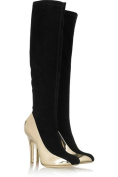 Silver and Black Suede Boots.