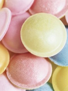 Pastel-Coloured Flying Saucers - photo by Sam Stowell on All Posters - for those of you who don't know what flying saucers are - they are fizzy sherbert in rice paper disks joined together to look like - yes flying saucers a UK and Aussie treat - yum!!!