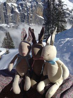 Little linen rabbits basking in the sunshine.