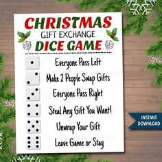Printable Christmas Gift Exchange Dice Game, Christmas Party Game, Present Swap white elephant, dirt