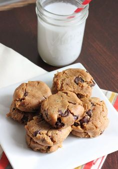 Gooey Peanut Butter Chocolate Chip Cookies [Chickpea Cookies - Gluten / Grain Free]