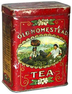 vintage Old Homestead Tea tea tin . scene of tea garden workers picking tea on front, early century