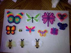 Butterflies and bees perler beads by Tiffany Sheaffer