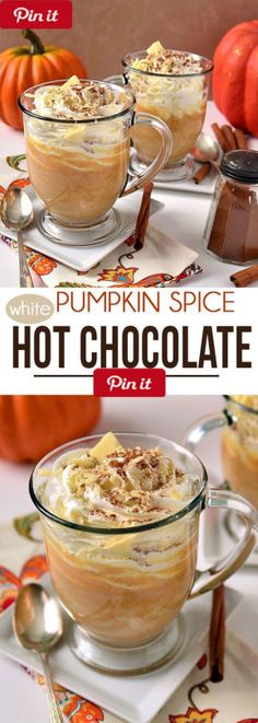 DIY Pumpkin Spice White Hot Chocolate - A delicious way to warm up with the taste of pumpkin pie in a mug. Find the recipe to Pumpkin Spice White Hot Chocolate  Ingredients  Vegetarian Gluten free  Produce   cup Pumpkin puree canned  Baking & Spices  1 pinch Cloves ground   tsp Pumpkin pie spice  1 pinch Sea salt   tsp Vanilla  2 oz White chocolate  Dairy  1  cups Whole milk @ICookUEat