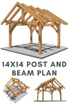 This 1414 post and beam plan is a moderately-sized cabin thats simple to build! Wooden Pergola, Outdoor Pergola, Pergola Kits, Diy Gazebo, Pergola Ideas, Pergola Images, Patio Ideas, Gazebo Plans, Shed Plans