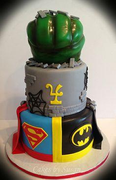 Superhero Birthday Cake - Batman, Spiderman, Superman, Hulk