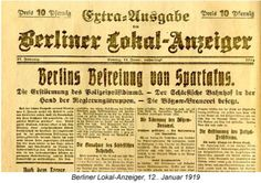 Exponat: Zeitung: Berliner Lokal-Anzeiger, 12. Januar 1919 (Kollektives Gedächtnis)