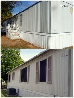 My Heart's Song: Mobile Home Exterior - Before/After. Painted exterior with Vals. - My Heart's Song: Mobile Home Exterior – Before/After. Painted exterior with Valspar Satin Exter - Mobile Home Redo, Mobile Home Repair, Mobile Home Makeovers, Mobile Home Living, Mobile Home Decorating, Used Mobile Homes, Decorating Ideas, Interior Decorating, Mobile Home Exteriors