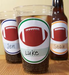 football party printables - plastic cup labels/stickers with a specific blank spot, which guests can use to write their names on their respective cups.