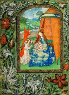 Mary with singing angels by Master of the Dresden Prayer Book, ca. 1500 (PD-art/old), Biblioteka Czartoryskich