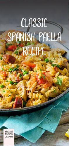 spanish food Classic Spanish Paella R - food Seafood Recipes, Mexican Food Recipes, Chicken Recipes, Dinner Recipes, Cooking Recipes, Ethnic Recipes, Breakfast Recipes, Spanish Paella Recipe, Spanish Rice Recipe