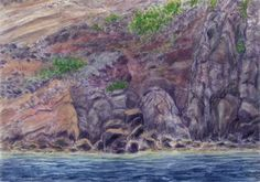 Coast of the island of Ischia, lava and tuff. Watercolor and pastel Jana Haasová