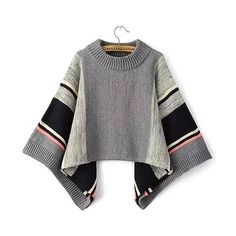 Yoins Yoins Cape Sweater (€24) ❤ liked on Polyvore featuring tops, sweaters, grey, shirts & tops, grey top, bell sleeve top, turtle neck sweater, grey turtleneck and grey shirt