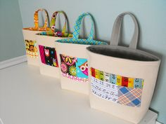 """The """"Kidlet"""" Wall Pocket Tidy Tote has a deep gusset to accommodate lots and lots of the """"stuff"""" that's always lying around.    By Jennifer Casa"""