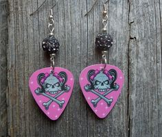 Girl Skull Guitar Pick Earrings with Gray Rhinestone Pave Beads by ItsYourPick on Etsy