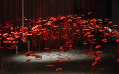 RED THREAD LEGEND SERIES by BEILI LIU    Beautiful installation inspired by the ancient chinese legend called the Red Thread. According to this myth, the gods tie an invisible red thread on children who are fated to be together.