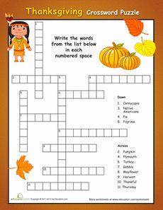 Simple Thanksgiving Crossword Puzzle Worksheet