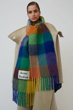 Winter Cashmere Scarf For Women Thick Warm Shawls and Wraps Fashion Plaid Print Pashmina Hijab Scarfs Feamle Scarves For Ladies Tommy Ton, Acne Studios, Acne Scarf, Cashmere Shawl, Checked Scarf, Fashion Colours, Shawls And Wraps, Womens Scarves, Blue Orange