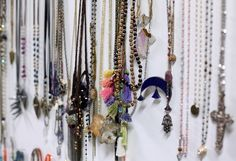 Necklaces in our web studio. http://blog.freepeople.com/2012/10/scenes-office-4/