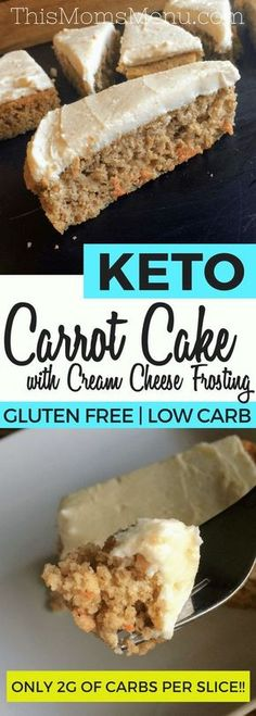 This recipe for Keto Carrot Cake with Cream Cheese Frosting is the PERFECT spring time dessert. With only 1 net carb per slice it's a great, low carb alternative to traditional carrot cakes. Serve it…More 12 Indulgent Keto Friendly Dessert Recipes Low Carb Deserts, Low Carb Sweets, Deserts For Diabetics, Desserts Keto, Dessert Recipes, Keto Snacks, Frosting Recipes, Healthy Tasty Snacks, Frozen Desserts