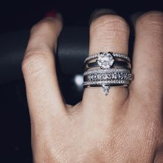 This is what I call a wedding stack!! How GOOD does our Lily Drop Diamond Ring in white gold look as the latest addition??