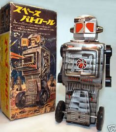 Battery powered Japan robots Vintage Robots, Retro Robot, Retro Toys, Vintage Toys, Toy Art, Mr Roboto, 1980 Toys, Robot Monster, Japanese Robot