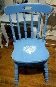 A lovely old pine Kitchen Chair Upcycled in store at Rua Dublin using Chalk Paint™  by Annie Sloan in Greek Blue and Pure White and Finished with Clear Wax