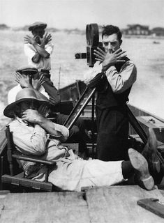Buster Keaton on the set of The High Sign, 1921.