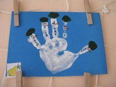sněhulák otisky rukou