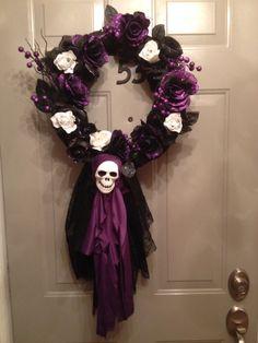 Halloween wreath I just made  #halloween #wreath #purple #black #white #skull #silver #lace #roses #glitter #sparkle